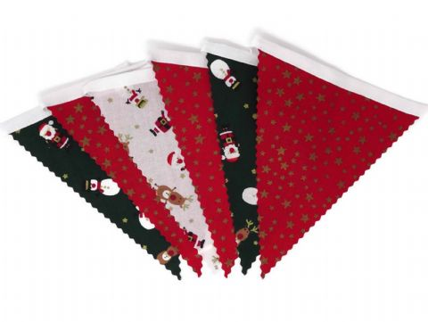 CHRISTMAS BUNTING  Stars Red - Santa Reindeer Snowman on White Tape - 3m - 14 flags (single-sided)